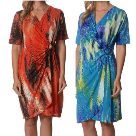 Drape-Dress-LILIA-WHISPERS-Red-Turquoise-Plus-Sizes-10-18-Women-Crossover-322161796249