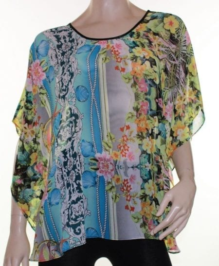 Kaftan-Top-Caftan-Blouse-Batwing-Plus-Size-8-26-Women-Sheer-Floral-Cover-Up-322438116238