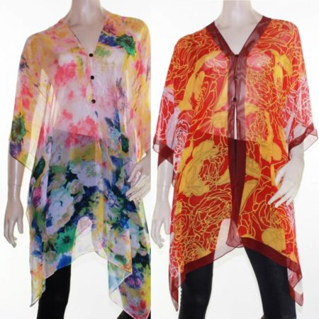 Kaftan-Top-Caftan-Sz-8-28-Women-Poncho-V-Neck-Cover-Up-Sheer-Floral-Colourful-222292763952