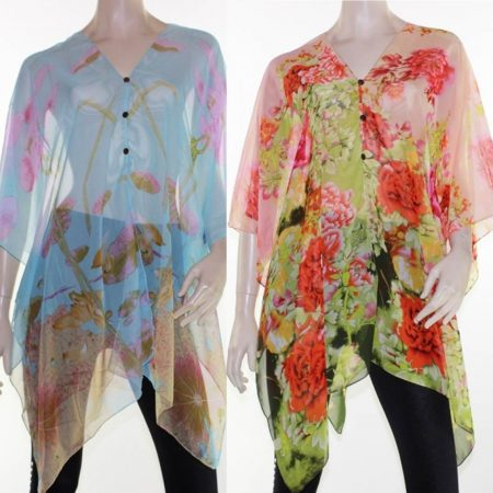 Kaftan-Top-Caftan-Sz-8-28-Women-Poncho-V-Neck-Cover-Up-Sheer-Floral-Colourful-322305410842