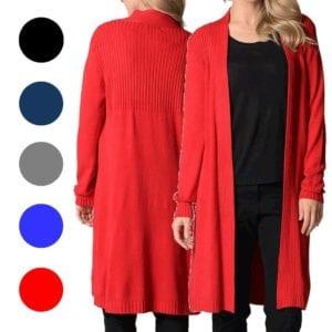 Long Drape Cardigan LILIA Plus Size Women Black Navy Grey Blue Red Cardi Jacket