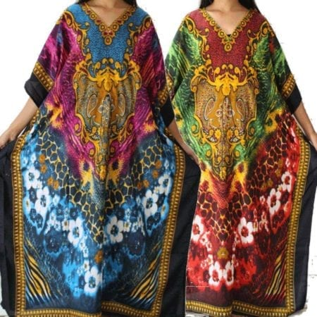 Maxi-Kaftan-Dress-Caftan-Sz-10-26-Women-Floral-Long-Beach-Cover-Up-Summer-222387200810