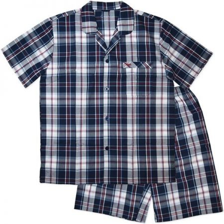 Men-Pyjama-PJ-Short-Sleeve-Pajama-Navy-Blue-Red-Check-Plus-Size-Sleepwear-Coast-322301095170