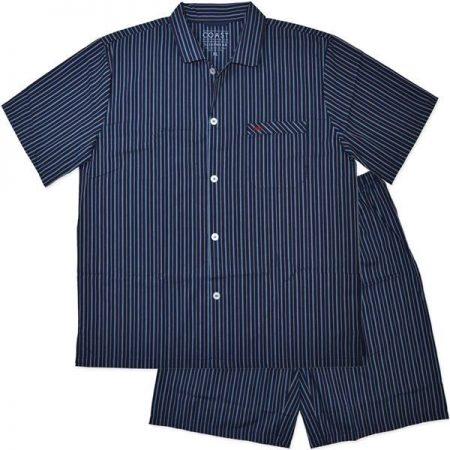 Men-Pyjama-PJ-Short-Sleeve-Pajama-Navy-Blue-Stripe-Plus-Size-Sleepwear-Coast-222288509713