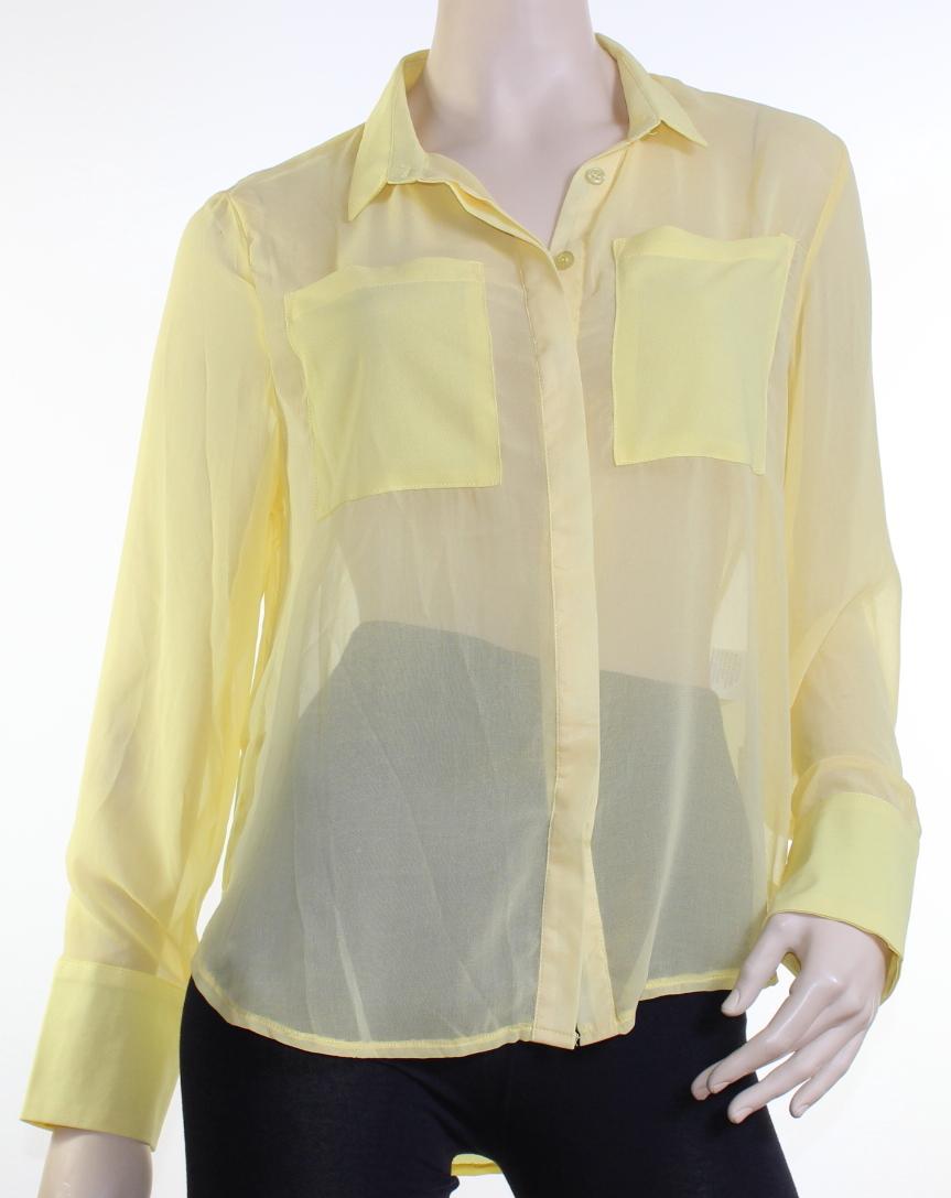 Caroline Morgan Shirt Sheer Blouse CKM Lemon Yellow Size 8 Drape Wide Cuff