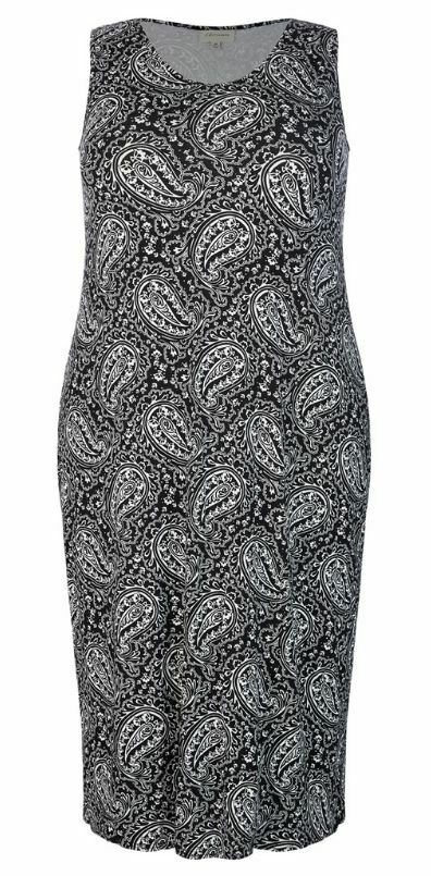 AUTOGRAPH Dress Plus Size 14 16 18 20 22 24 26 Black White Paisley Sleeveless