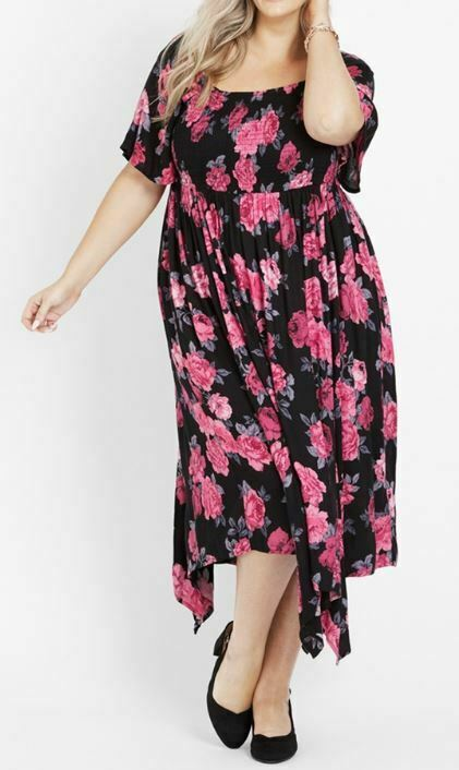 AUTOGRAPH Dress Plus Size 14 16 18 20 22 Black Pink Floral Hanky Hem Shirred Top