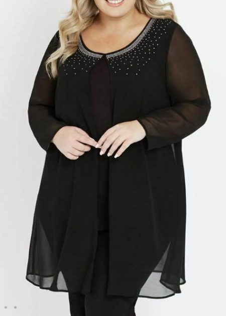 AUTOGRAPH Tunic Plus Size 14 16 18 20 22 24 26 Black Top Sheer Blouse Cocktail
