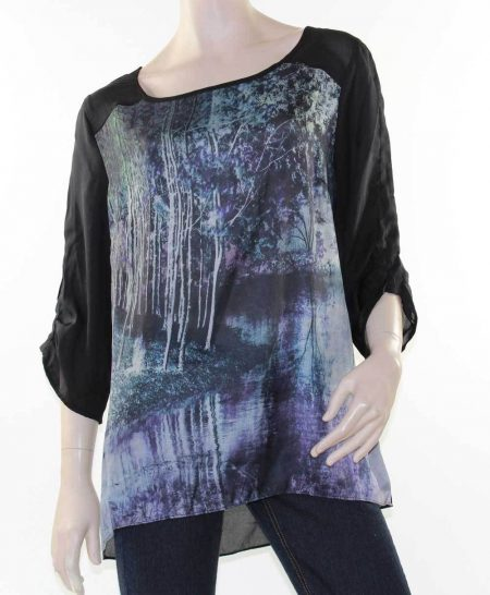 AVELLA-Blouse-Top-Digital-Print-Black-Blue-Forest-Plus-Size-18-20-22-24-26-28-321552336329