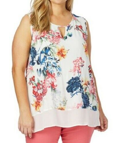 BEME Blouse Plus Size 14 16 18 20 22 24 26 Top Shirt Sleeveless White Floral