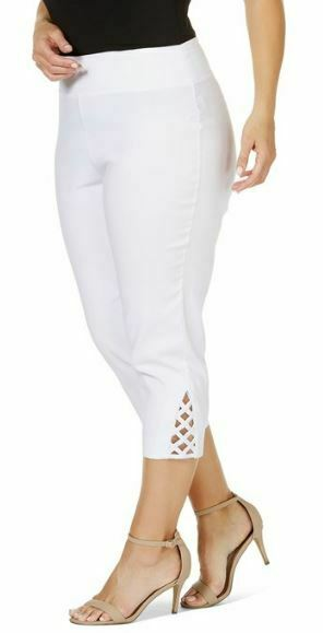 BEME Crop Pants Plus Size 22 24 26 White Bengaline Stretch