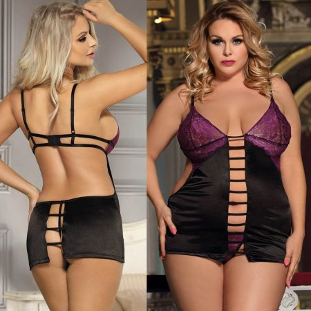 Babydoll + G String Purple Lace Black Lingerie Chemise Plus Size M XL 3XL 5XL