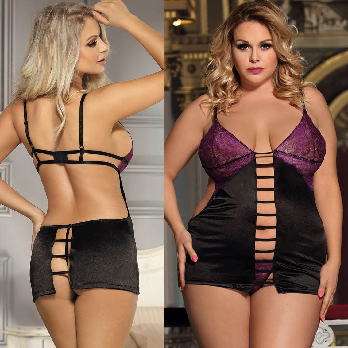 42cbdd2bed5 Babydoll + G String Purple Lace Black Lingerie Chemise Plus Size M ...
