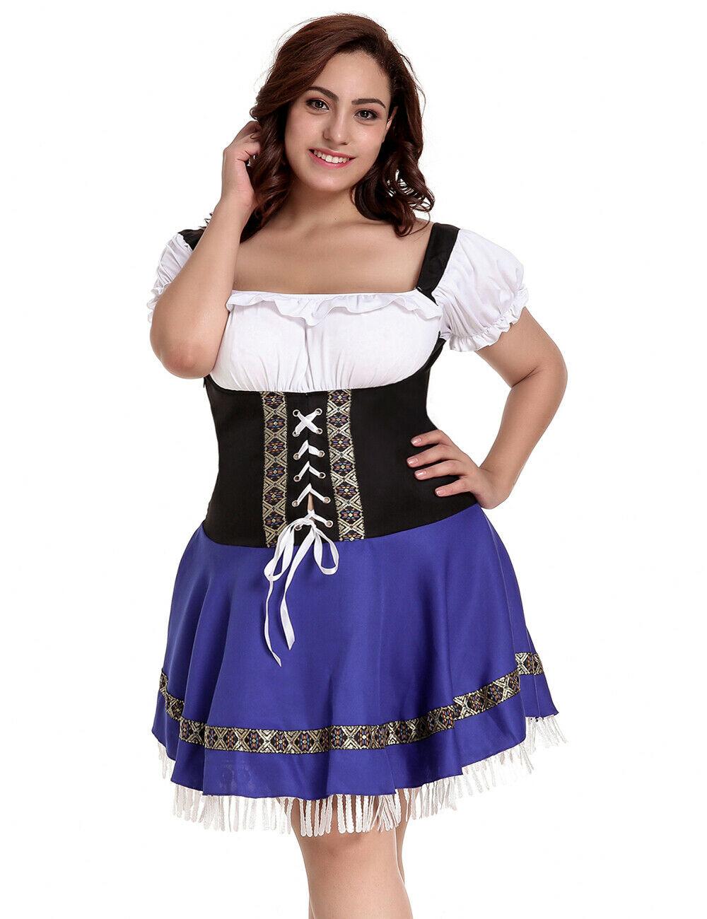 0b018b8bb217 Beer Maid Costume Plus Size 8 - 26 Blue Oktoberfest Fancy Dress ...
