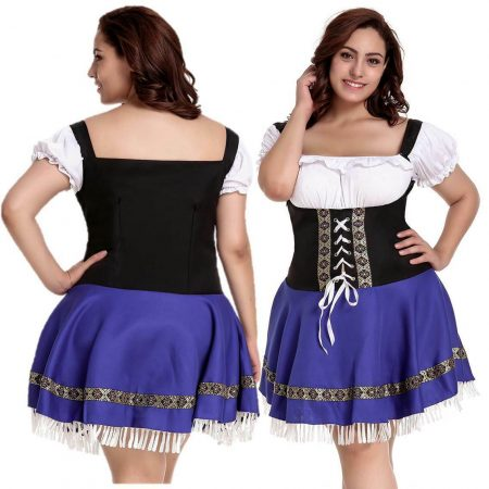 Beer Maid Costume Plus Size 8 - 26 Blue Oktoberfest Fancy Dress German Wench