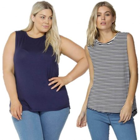 Betty Basics Capri Tank Top Sizes 10 - 18 Muscle Tee T Shirt Navy White Stripe