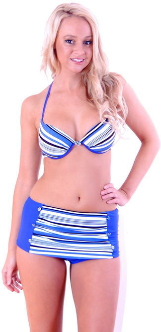 Bikini Boyleg Retro High Waisted Swimwear Bathers Sz 8 - 16 Women Blue Stripe