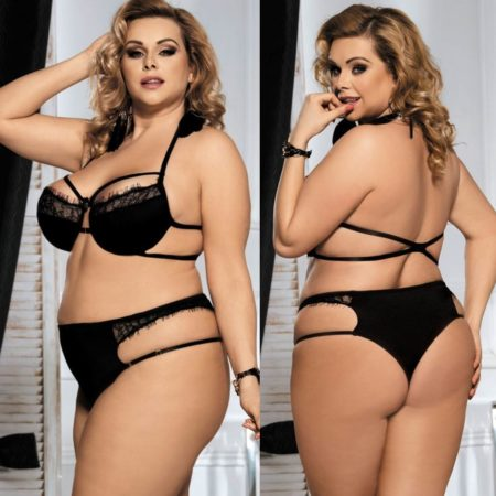 Black Bra Set Lingerie Strappy Pant Plus Siz XL 2XL 3XL 4XL 5XL 6XL Eyelash Lace