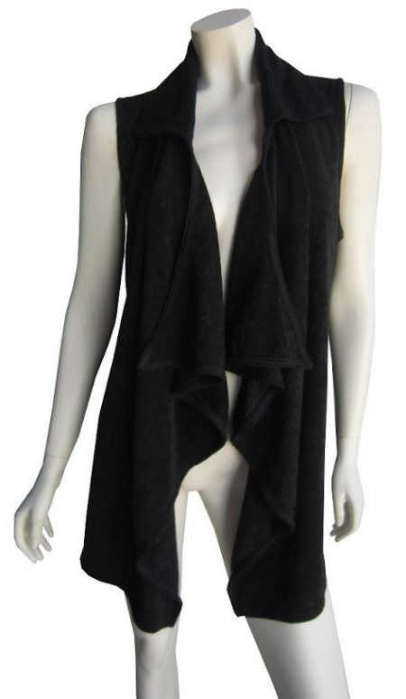Black Cardigan Drape Knit Soft Cardi Vest SUN ROSE Plus Size 14 16 18 20 22 24