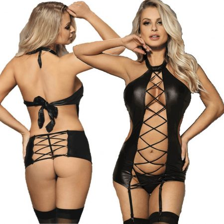 Black Faux Leather Teddy Chemise Garter Sexy Lingerie Plus Size M XL 3XL