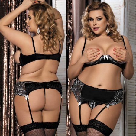 Black-Open-Cup-Bra-Set-G-String-Garter-Sexy-Lace-Lingerie-Plus-Size-XL-3XL-5XL-322529633053