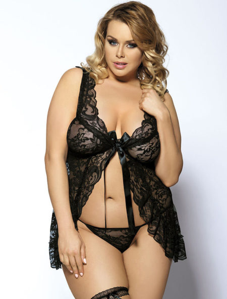 Black-Plus-Size-Babydoll-Lingerie-G-String-XL-2XL-3XL-4XL-5XL-6XL-Sheer-Lace-322031084446