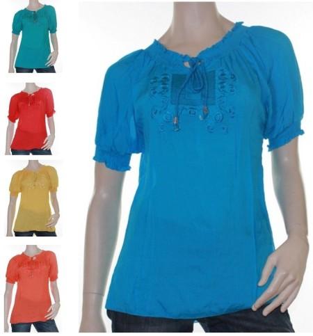Blouse Gypsy Peasant Elegant Sz 10 -16 Women  Red Jade Blue Yellow Orange Top