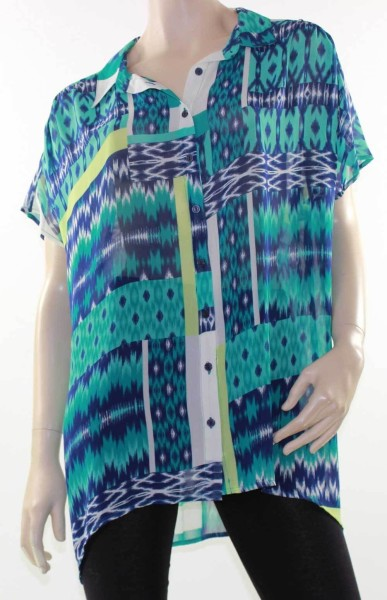 Blouse-Shirt-Top-MODA-Blue-Abstract-Sz-16-18-20-22-24-26-Sheer-Zig-Zag-Target-321532161574