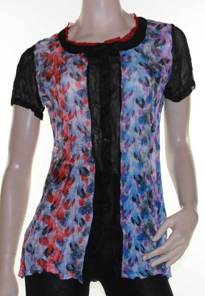Blouse-Top-Black-Blue-Red-Sheer-Sz-10-12-14-16-18-20-Women-EVERSUN-Short-Sleeve-221919077837