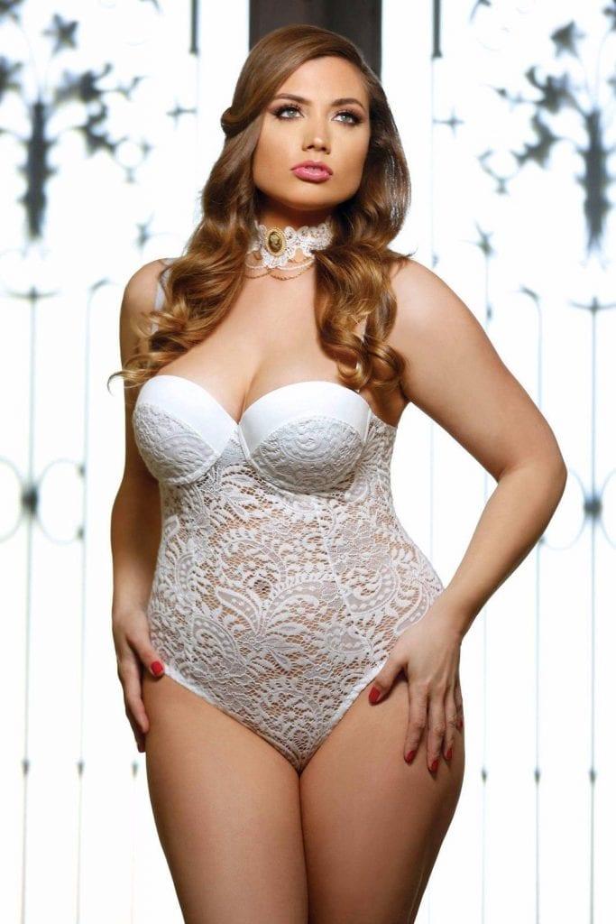 Bridal Lingerie White Lace Teddy Plus Size Wedding