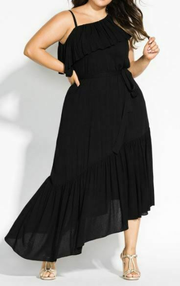CITY CHIC Black Maxi Dress Plus Size 18 M One Shoulder Frilled Long Beach Love