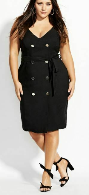 CITY CHIC Dress Plus Size 16 18 20 22 RRP$129.95 Black Midi Deep V Neck