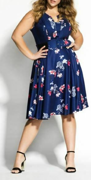 CITY CHIC Dress Plus Size 16 22 Sapphire Blue Floral Lotus Love A Line