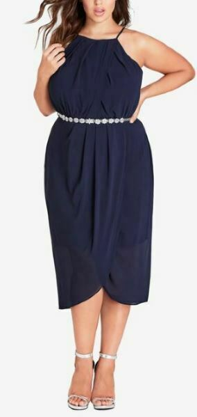 CITY CHIC Dress Plus Size 20 22 RRP$159.95 Sapphire Blue Cocktail Evening