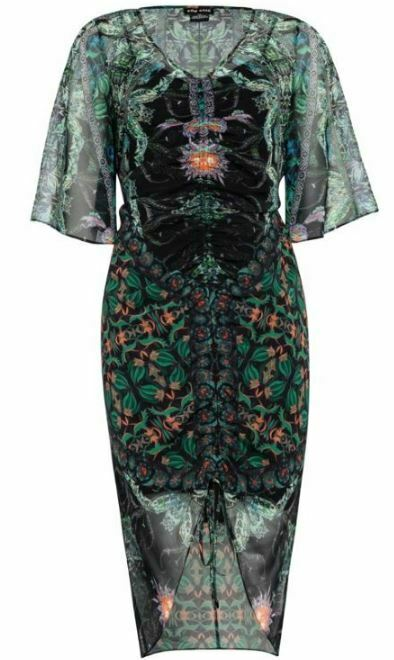 CITY CHIC Dress Plus Size 22 XL Black Green Limited Edition V Neck RRP$149.99