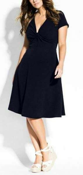 CITY CHIC Dress Plus Size 22 XL Navy Deep V  Neck A Line Fit and Flare