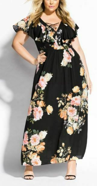 CITY CHIC Floral Maxi Dress Plus Size 18 M Short Sleeve Lined Black Vintage Rose
