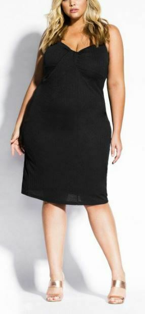 CITY CHIC Little Black Dress Plus Size 22 XL LBD Sleeveless Lined Twist Front