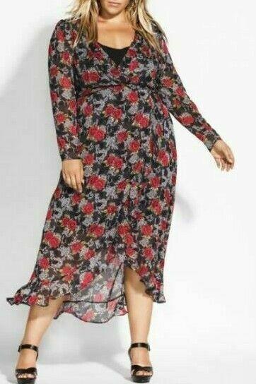 CITY CHIC Maxi Dress Plus Size 16 18 20 RRP$149.95 Black Red Floral Hi Lo Boho