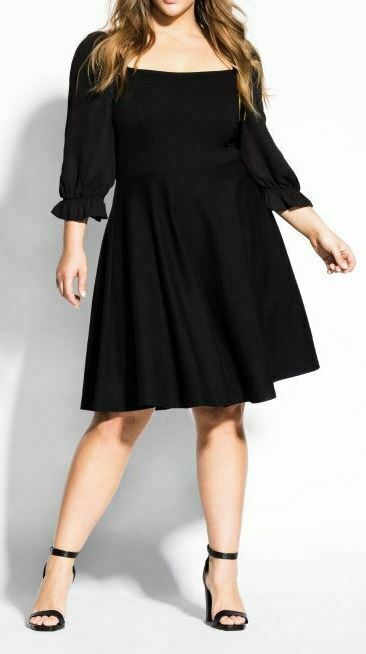 CITY CHIC Plus Size 16 S Black Elba Dress Sheer Chiffon Sleeves Slimming A Line