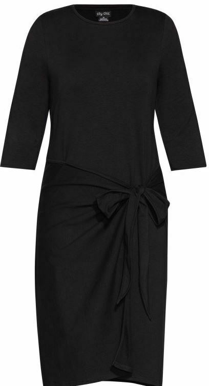 CITY CHIC Plus Size 24 XXL Black Ripple Waist Dress