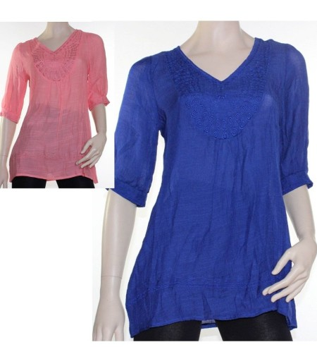 CKM Crinkle Blouse Top Tunic V Neck Sz 10 12 14 Women Salmon Pink Cobalt Blue