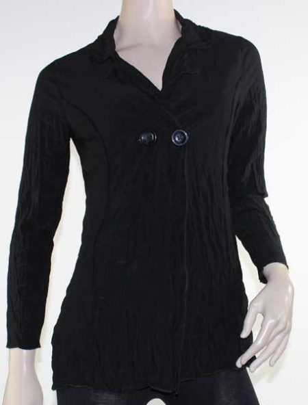 Cardigan Black Crinkle Jacket Drape Plus Size 10 12 14 16 18 20 EVERSUN