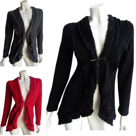 Cardigan Black Grey Red Drape Knit Cardi Winter Plus 10 12 14 16 18 20 EVERSUN