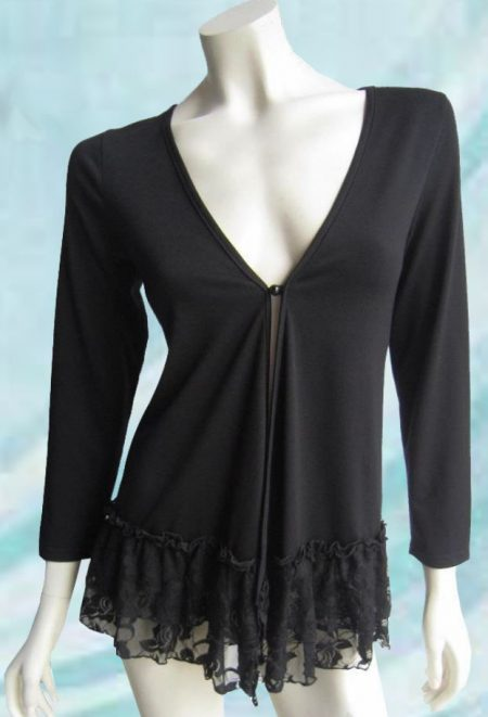 Cardigan Black Ruffle Dress Jacket Drape Plus Size 10 12 14 16 18 20 EVERSUN