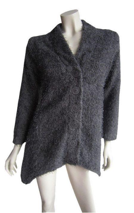 Cardigan Grey Fluffy Knit Cardi Winter Plus Size 10 12 14 16 18 20 EVERSUN