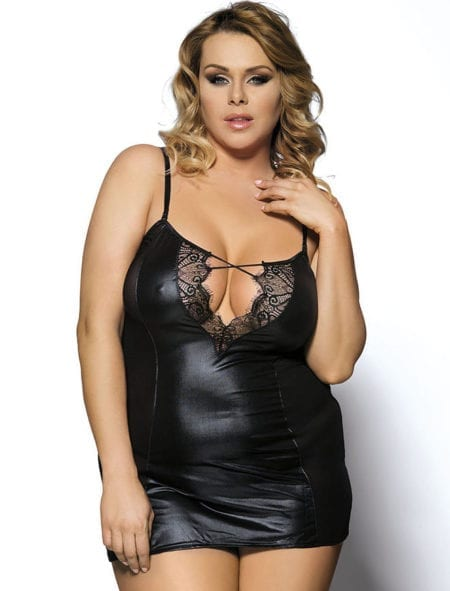 Chemise + G String Black Faux Leather Lace Lingerie Plus Size XL 3XL 5XL