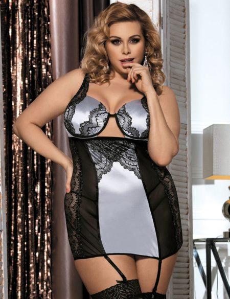 83003d97d5754 Chemise Set + G String Garter Lace Lingerie Silver Black Plus Size XL 3XL  5XL