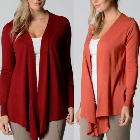 Drape Cardigan LILIA WHISPERS Burgundy Rust Plus Sizes 10 - 18 Women Long Jacket