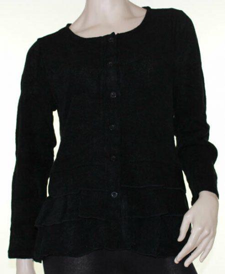 Drape Cardigan Size 18 SUN ROSE Black Wool Jacket Ruffle Peplum Hem